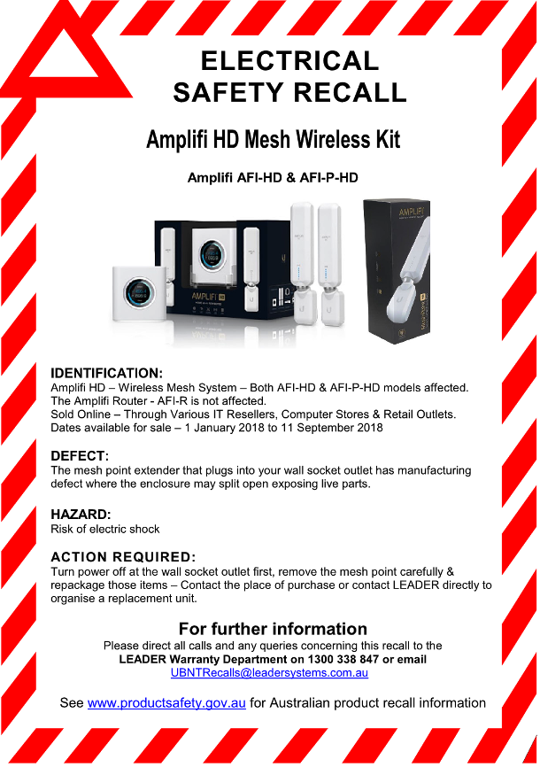 Amplifi WiFi Extender - Product Electrical Safety Recall Notice